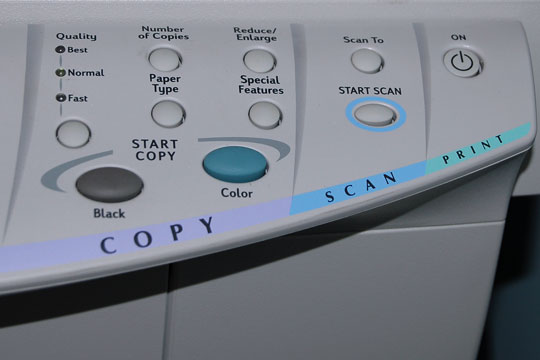 copy, scan, and print controls on a multifunction printer